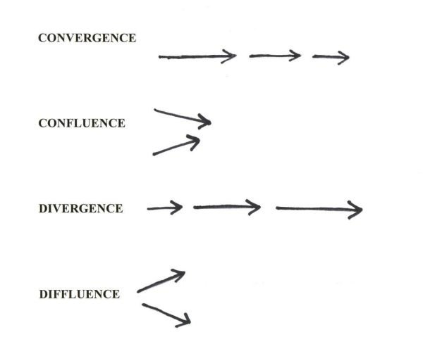 the difference between convergence and divergence Ignoring the eventual detail of the definition of species, and considering species divergence as referring to the divergence between any two lineage (whether or not in reproductive isolation), then it is clear that species divergence is part of the process of adaptive radiation.