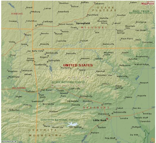 Ozark Mountains Topographic Map.Tornadoes In The Boston Mountains Of Northern Arkansas