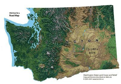 Wet vs dry shedding some light on the pacific northwest rain shadow figure 1 washington topographical map sciox Choice Image